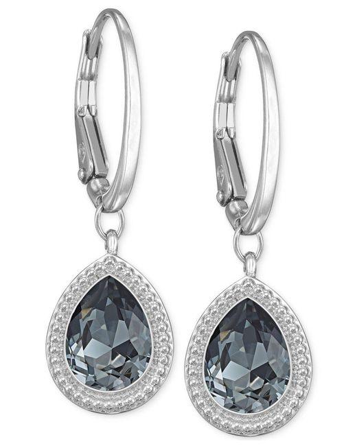 Swarovski | Metallic Silver-tone Crystal Teardrop Leverback Earrings | Lyst