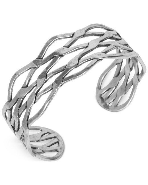 Lucky Brand   Metallic Silver-tone Twisted Cuff Bracelet   Lyst