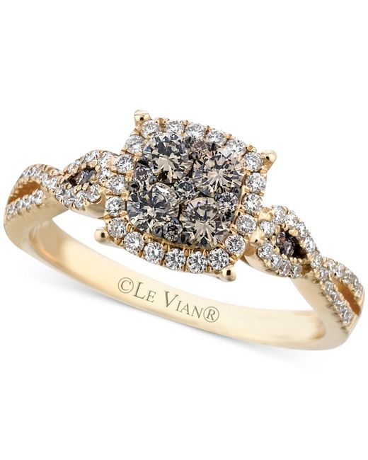 Le Vian   Brown Chocolate (3/8 Ct. T.w.) And White (1/3 Ct. T.w.) Diamond Braided Ring In 14k Gold   Lyst