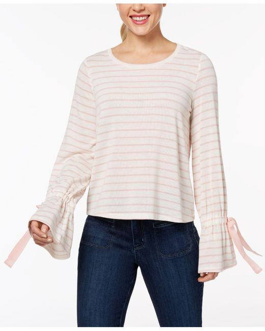 Maison Jules - Pink Striped Bell-sleeve Sweater, Created For Macy's - Lyst