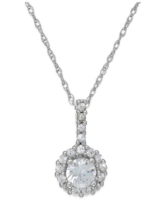 Macy's - White Sapphire Halo Pendant Necklace In 14k White Gold (3/8 Ct. T.w.) - Lyst