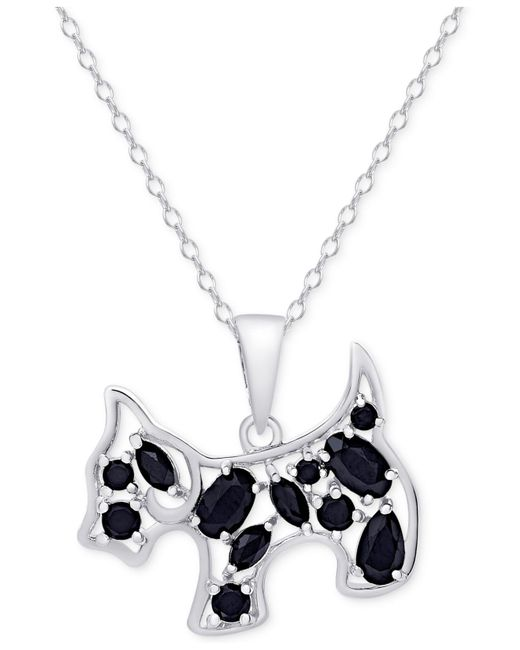 Macy's - Metallic Black Spinel Dog Pendant Necklace In Sterling Silver - Lyst