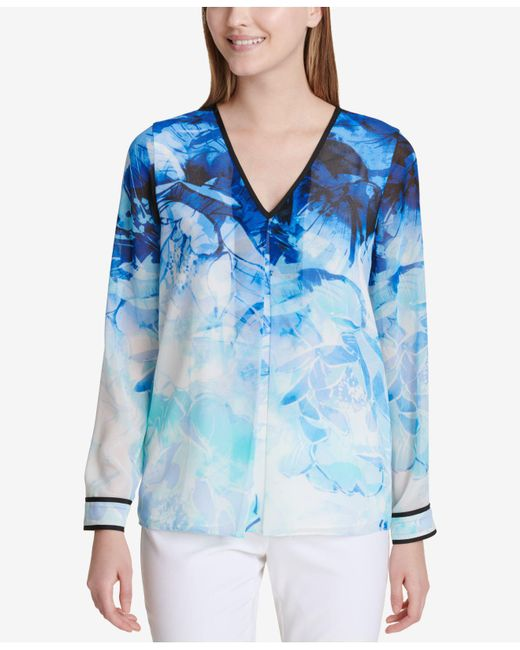 Calvin Klein - Blue Striped V-neck Top - Lyst
