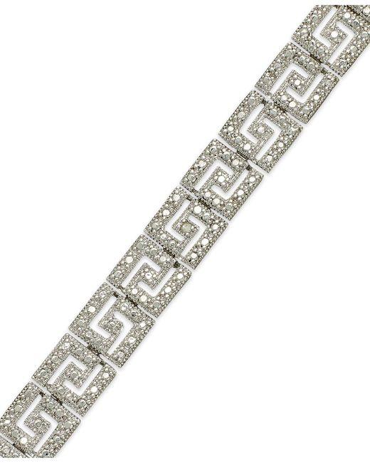 Macy's - Metallic Sterling Silver-plated Diamond Accent Greek Key Bracelet - Lyst