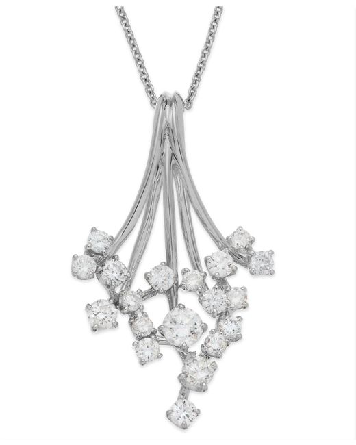 Effy Collection - Metallic Diamond Waterfall Pendant Necklace In 14k White Gold (3/4 Ct. T.w.) - Lyst