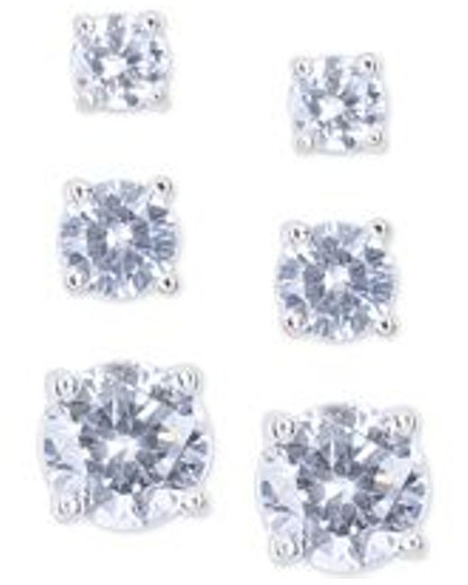 Nine West | Metallic Silver-tone Crystal Small To Large Trio Earring Set | Lyst