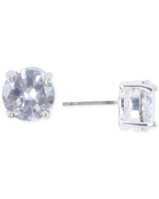 Nine West | Metallic Silver-tone Crystal Stud Earrings | Lyst