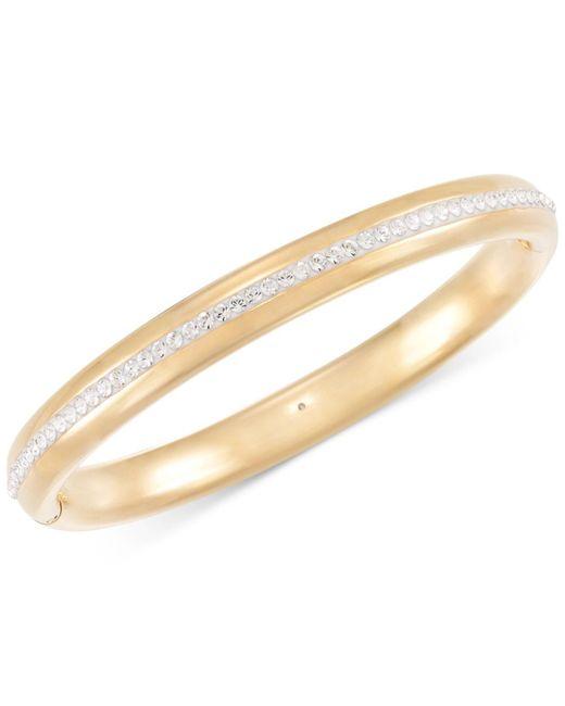 Signature Gold - Metallic Swarovski Zirconia Bangle Bracelet In 14k Gold Over Resin - Lyst