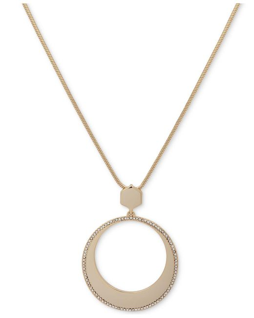 Ivanka Trump - Metallic Gold-tone Long Pavé Circle Pendant Necklace - Lyst