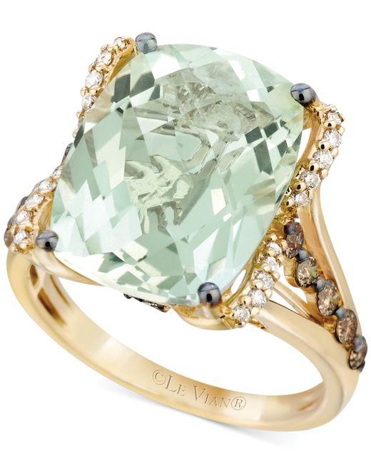 Le Vian | Green Amethyst (9-3/4 Ct. T.w.), White Diamond (1/8 Ct. T.w.) And Chocolate Diamond (3/8 Ct. T.w.) Ring In 14k Gold | Lyst