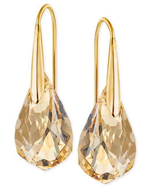 Swarovski Metallic Gold-tone Champagne Crystal Drop Earrings
