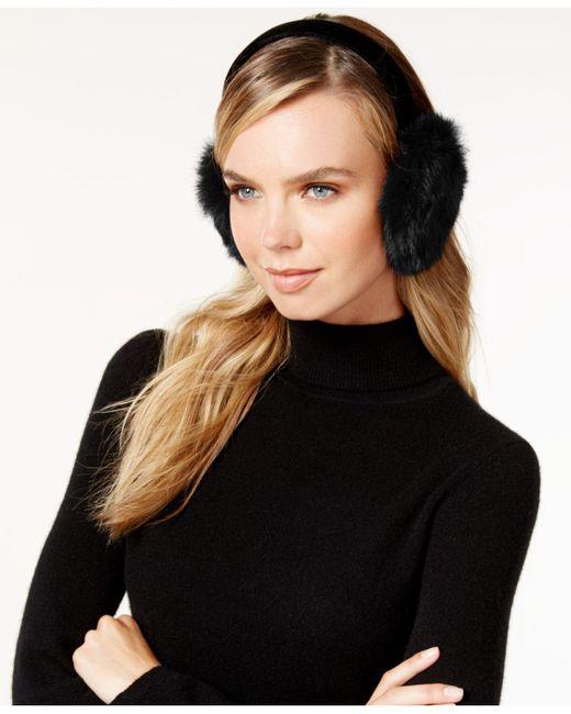 Surell | Black Velvet Band Rabbit Fur Earmuffs | Lyst
