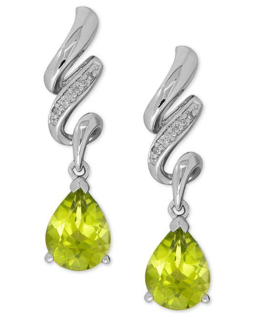Macy's - Green Peridot (2-1/2 Ct. T.w.) And Diamond Accent Twist Drop Earrings In Sterling Silver - Lyst