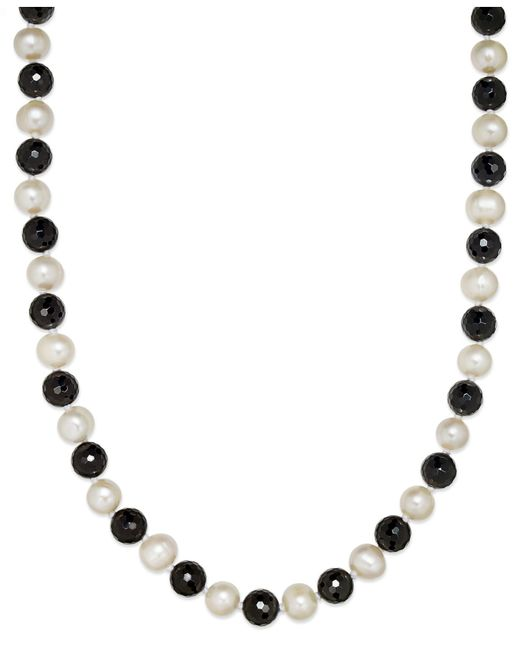 Macy's | Black Cultured Freshwater White Pearl (11mm) And Onyx (10mm) Necklace | Lyst