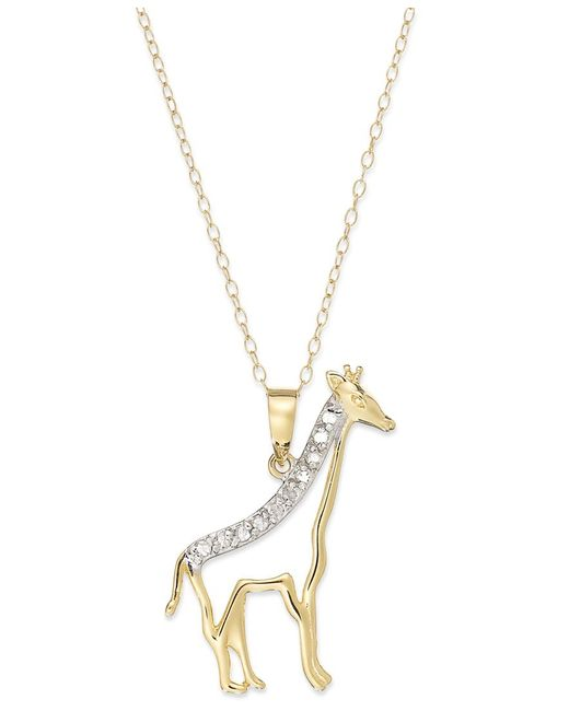 Macy's | Metallic Diamond Giraffe Pendant Necklace In 18k Gold Over Sterling Silver (1/10 Ct. T.w.) | Lyst