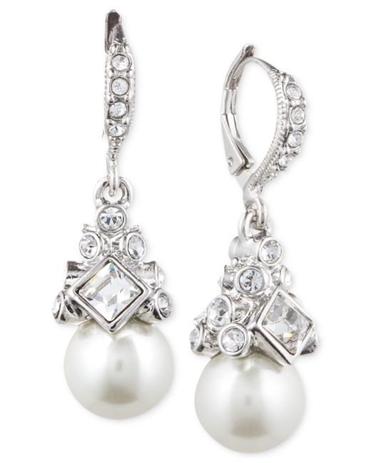Givenchy | White Imitation Rhodium, Crystal And Faux Pearl Small Drop Earring | Lyst