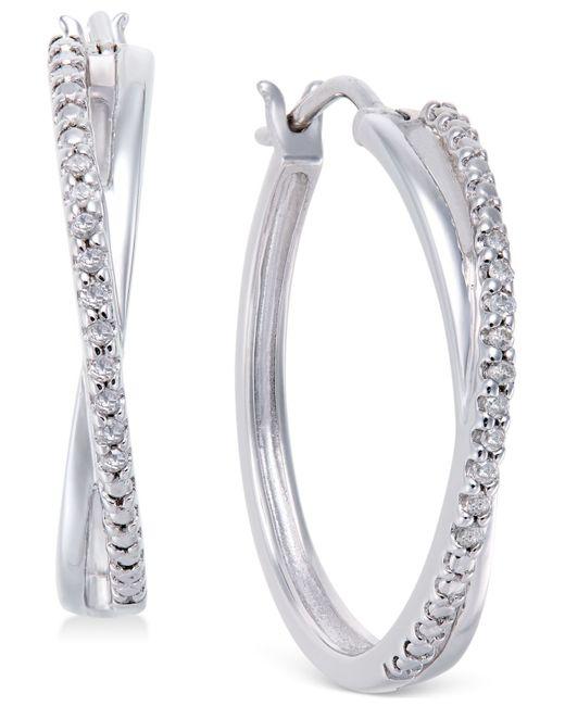 Macy's | Metallic Diamond Crossover Hoop Earrings (1/10 Ct. T.w) In Sterling Silver | Lyst