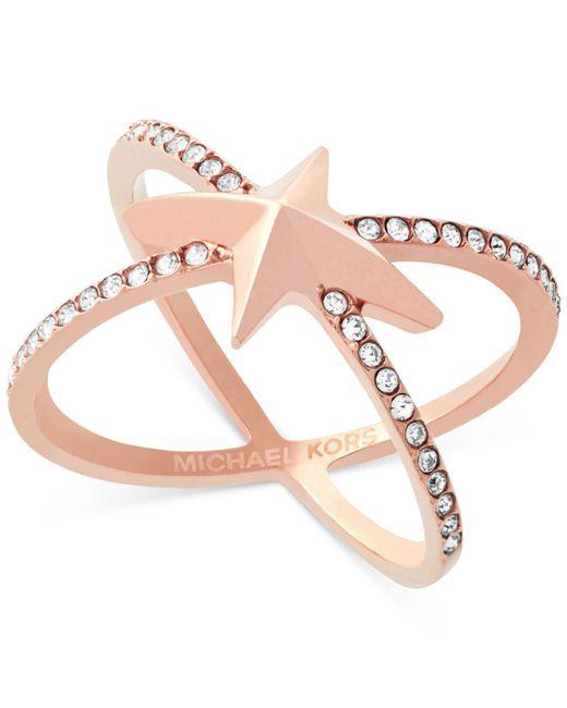 Michael Kors | Multicolor Rose Gold-tone Pavé Starburst Open Ring | Lyst