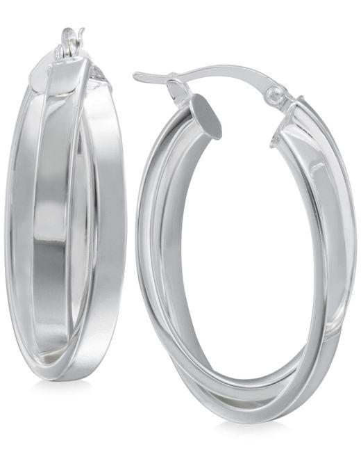 Macy's | Metallic Crisscross Angled Hoop Earrings In Sterling Silver | Lyst