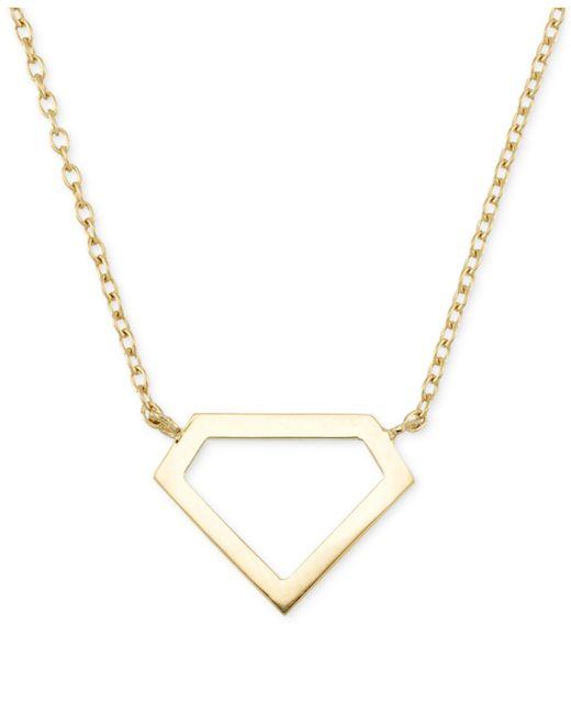 Macy's   Metallic Openwork Polished Gem-look Pendant Necklace In 14k Gold   Lyst
