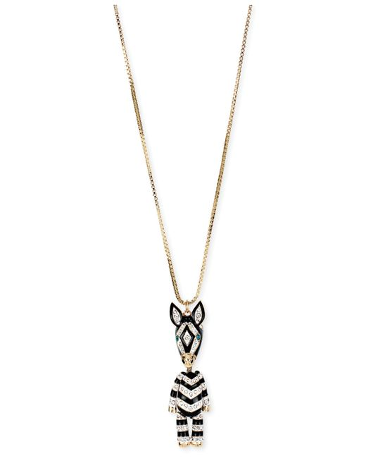 Betsey Johnson | Metallic Gold-tone 3-d Zebra Pendant Long Necklace | Lyst