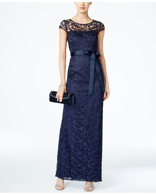 Adrianna papell Cap-sleeve Illusion Lace Gown in Blue