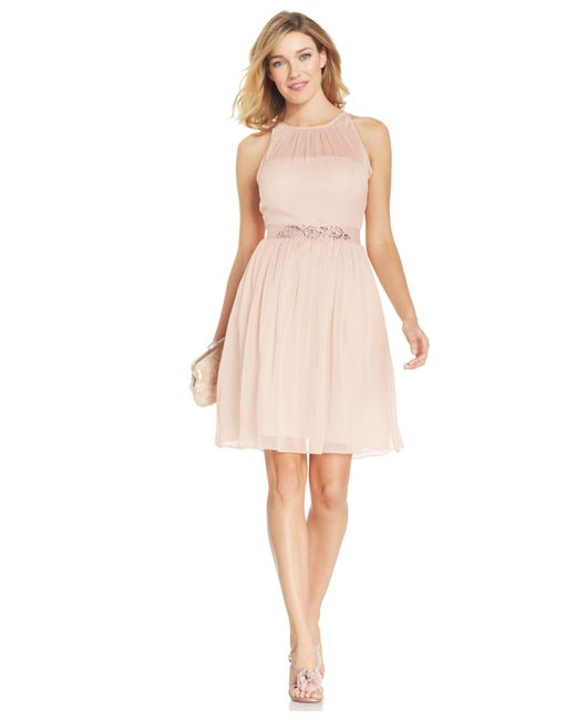 Adrianna Papell | Pink Belted Chiffon Halter Dress | Lyst