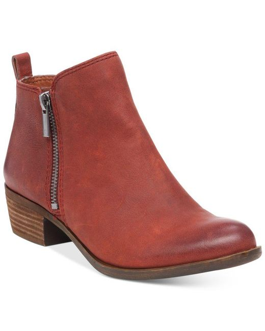 Lucky Brand | Red Basel Leather Ankle Boots | Lyst