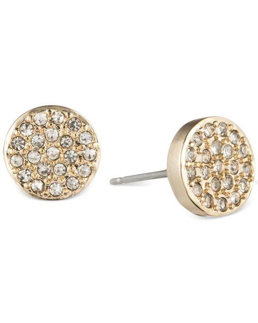 Anne Klein | Metallic Crystal Pave Button Stud Earrings | Lyst