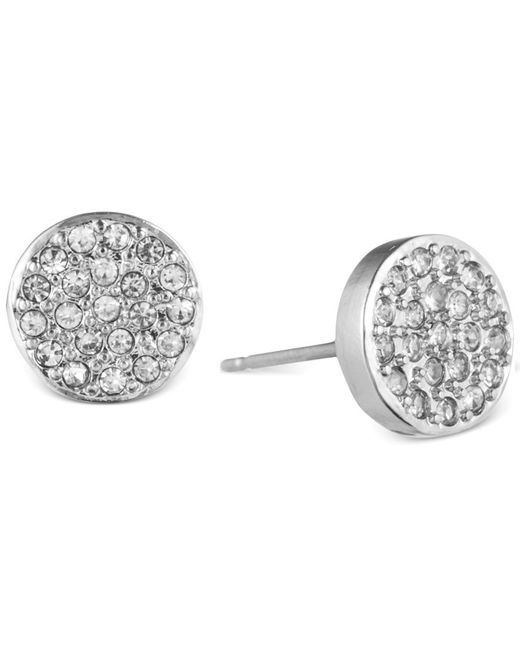 Anne Klein | Metallic Crystal Pave Button Stud Earrings | Lyst