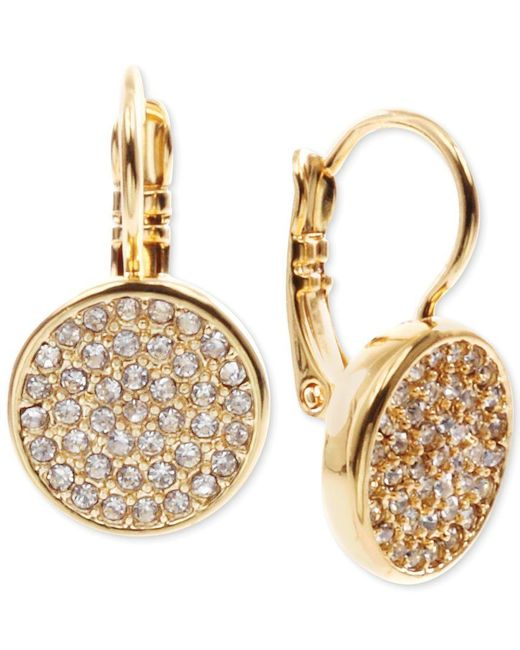 Anne Klein   Metallic Crystal Pave Disc Drop Earrings   Lyst