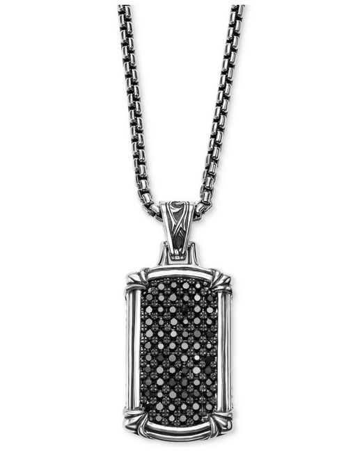 Scott Kay - Metallic Men's Black Sapphire Dog Tag Pendant Necklace (1-3/8 Ct. T.w.) In Sterling Silver for Men - Lyst