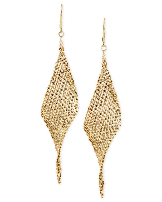 Kenneth Cole | Metallic Mesh Twist Drop Earrings | Lyst