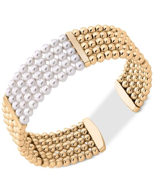 Majorica - Metallic Gold-tone Bead & Imitation Pearl Bangle Bracelet - Lyst