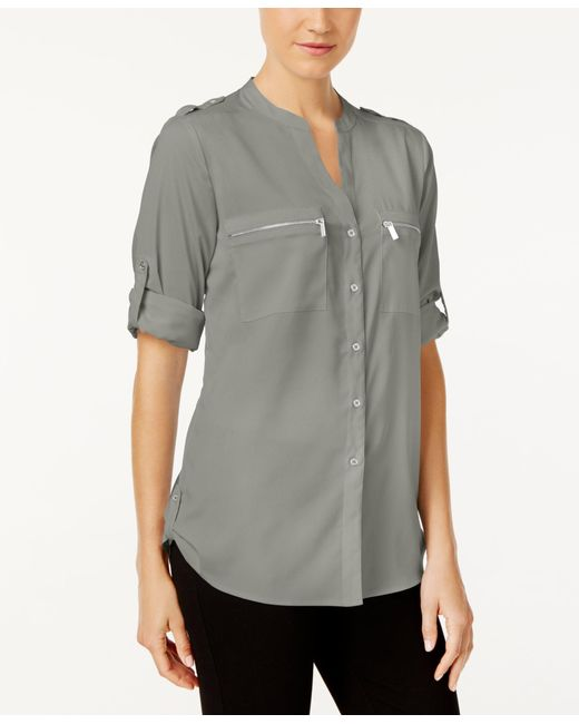 Calvin Klein   Gray Zip-pocket Utility Blouse   Lyst