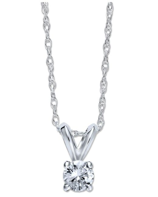 Macy's - Metallic Diamond Hamsa Pendant Necklace (1/10 Ct. T.w.) In Sterling Silver - Lyst