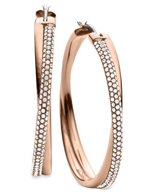Michael Kors | Pink Clear Pave Crisscross Hoop Earrings | Lyst