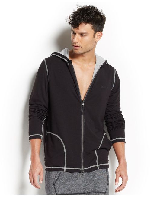 2xist | Black 2(x)ist Men's Loungewear, Two-tone Full-zip Hoodie for Men | Lyst