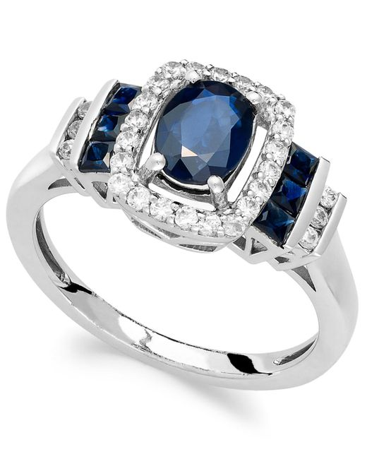 Macy's | Blue Sapphire (1-3/8 Ct. T.w.) And Diamond (1/5 Ct. T.w.) Ring In 14k White Gold | Lyst
