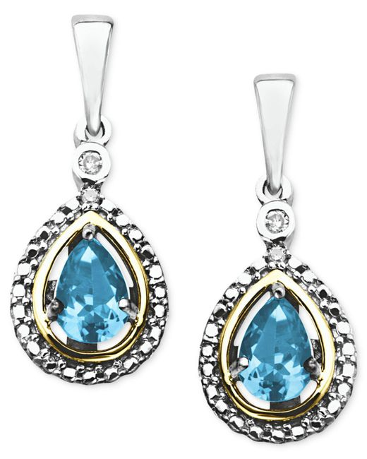 Macy's - Metallic 14k Gold And Sterling Silver Earrings, Blue Topaz (1 Ct. T.w.) And Diamond Accent Teardrop Earrings - Lyst