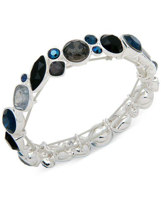 Nine West | Metallic Silver-tone Multi-stone Stretch Bracelet | Lyst