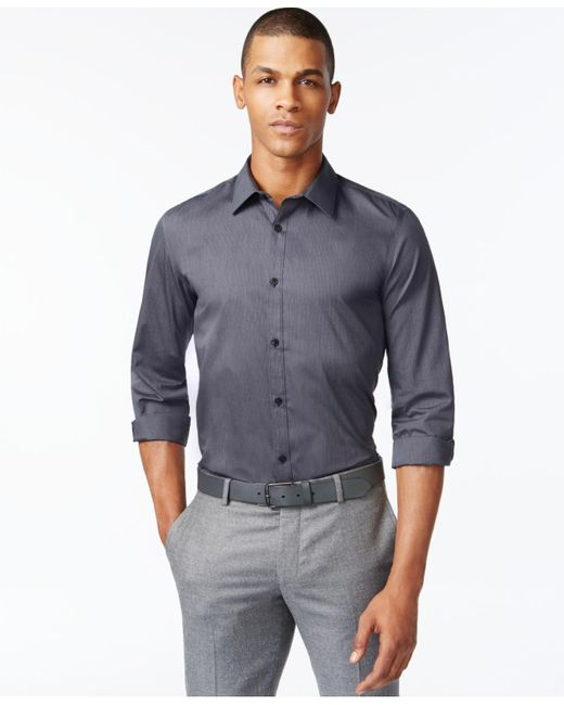 Calvin Klein | Black Infinite Cool Striped No-iron Shirt for Men | Lyst
