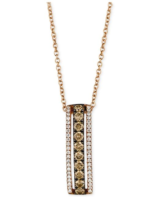 Le Vian | White And Chocolate Diamond Pendant Necklace In 14k Rose Gold (1/2 Ct. T.w.) | Lyst