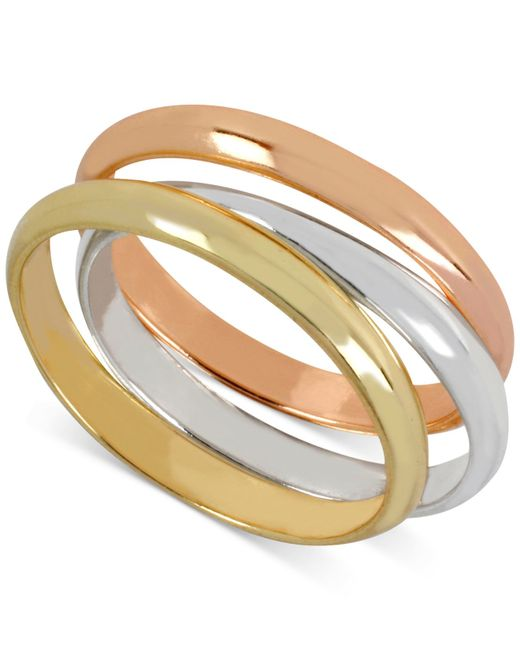 Hint Of Gold | Metallic Tri-tone Stackable Ring Set | Lyst