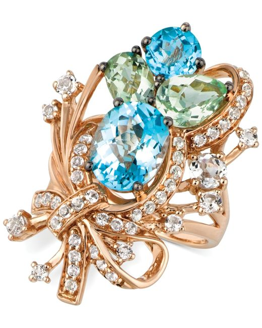 Le Vian | Blue Topaz, White Topaz And Green Quartz Cluster Ring In 14k Rose Gold (7 Ct. T.w.) | Lyst