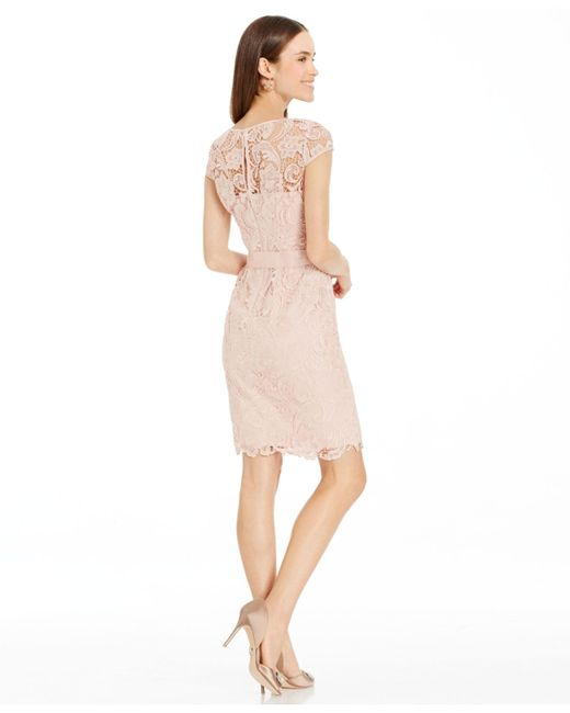 Adrianna Papell | Pink Lace Cap-sleeve Illusion Sheath Dress | Lyst
