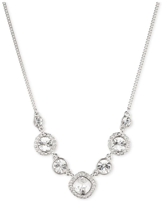 Givenchy | Metallic Rhodium-plated Crystal Frontal Necklace | Lyst