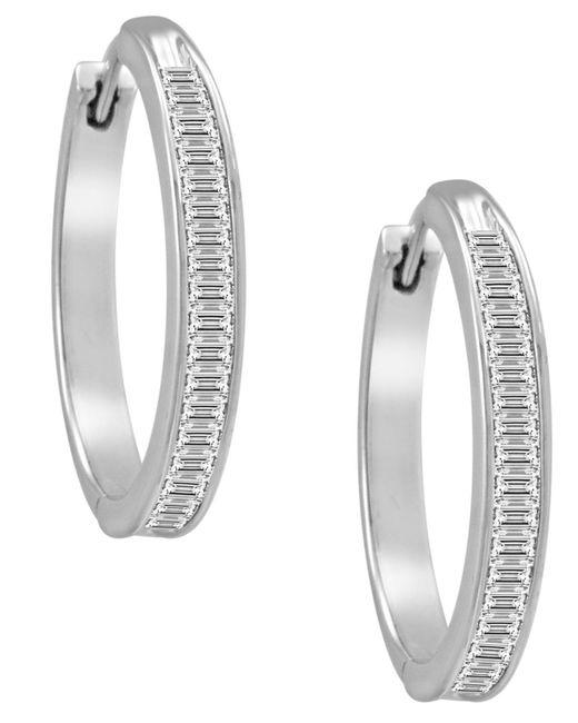 Macy's - Metallic Diamond Hoop Earrings In Sterling Silver (1 Ct. T.w.) - Lyst