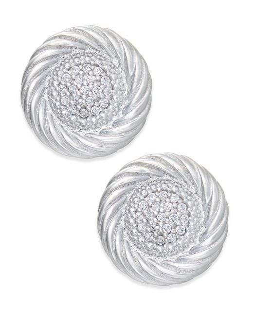 Macy's - Metallic Diamond Button Swirl Earrings (1/5 Ct. T.w.) In Sterling Silver - Lyst