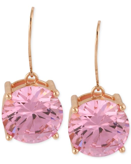 Betsey Johnson | Rose Gold-tone Pink Crystal Drop Earrings | Lyst